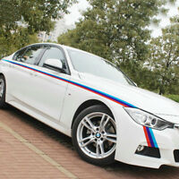 Tricolor M Performance Sticker Graphic Waist Line Stripe Decal For BMW 2 PCS
