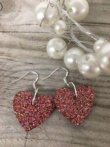 Handmade Resin Heart Statement Earrings