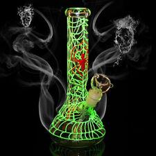 "Glow In Green Filiform Luminous Hookah Pipe Water Smoking Pipes Bongs Glass 10"""