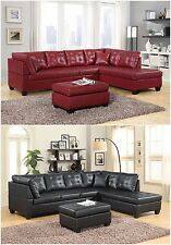 Brand New Pu Leather Living Room Furniture Sectional Sofa Set In Black/Red