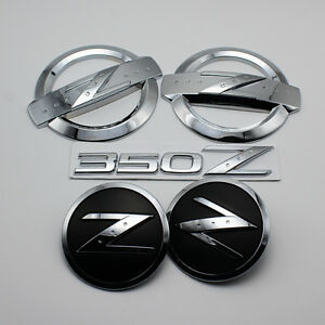 350 Z Silver Emblem Side Front Hood Badges Kit for 350z Fairlady Z