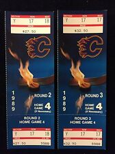 1989 NHL CALGARY FLAMES UNUSED STANLEY CUP PLAYOFF TICKETS ROUND 2 & 3