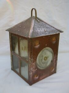 c1900 arts & crafts copper lantern porch hall lantern blown glass bullseye