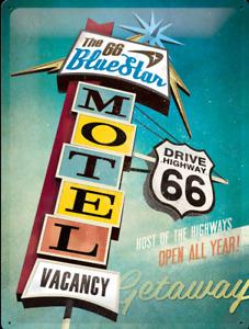 Nostalgique Type Panneau Métallique Itinéraire US 66 Motel Bleu Star Open All An