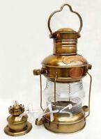 Antique Brass & Copper Anchor Light Lantern Oil Lamp Nautial Maritime Ship Boat