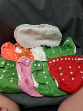 Baby City Lot Of 8 Cloth Diapers With 5 Inserts, Some Staining