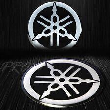 "2-1/8"" 3D Brushed Metal Look Emblem Decal Logo Fairing/Fender Sticker for Yamaha"