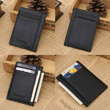 Wallet slim money clip credit card holder ID business mens genuine leather Black
