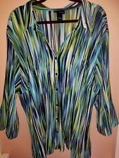 Women's MAGGIE BARNES 5X Pleated Green/Blue Multi stripe Blouse