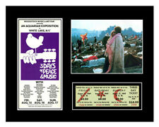 1969 WOODSTOCK MUSIC FESTIVAL TICKET & PHOTO DISPLAY *READY TO FRAME*