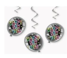 Happy New Year Hanging Decorations Swirls Party foil balloon design 26 inch