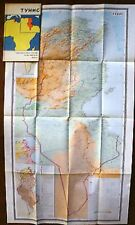 Vintage Soviet Wall Map Tunis Moscow 1973