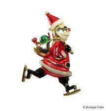 d1cf3386c060c Vintage BEATRIX Goldtone Enamel Ice Skating Santa Holiday Christmas Pin  Brooch