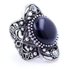 Vintage Estilo Punk Antiguo anillo de recorte de color plata y negro, UK Tamaño S