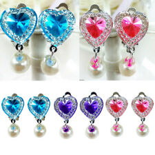 Kids Girl Love Heart Crystal Faxu Earrings Fake Ear Clip Diamond Jewelry 1Pair