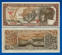 Brazil P-166a 5 Cruzeiros Year ND 1961-1962 Uncirculated Banknote