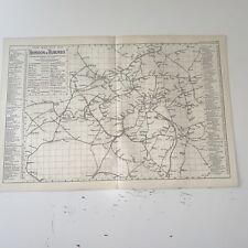 c1889 London & Suburbs Railways British Isles Map Bacon Antique Vgc