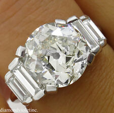 5.07CT ESTATE VINTAGE OLD EURO DIAMOND ENGAGEMENT WEDDING RING 18K WG EGL USA
