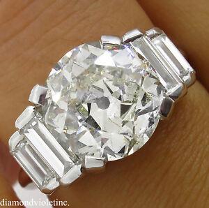 GIA 5.07CT ESTATE VINTAGE OLD EURO DIAMOND ENGAGEMENT WEDDING RING 18K WG
