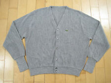 COOL!! 80s vtg LACOSTE GREY CARDIGAN SWEATER button down ALLIGATOR XL
