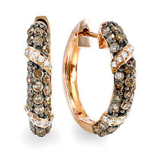 1.00 CT 14K Rose Gold Round White & Champagne Diamond Ladies Hoop Earrings