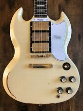 2019 Gibson Custom Shop SG Custom 3 PU, Classic White Heavy Aged Stopbar