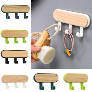 Multifunction Wall-Mounted Self-adhesive Wooden Hanger Rack Hook Storage Holder