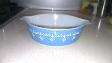 Collectible Pyrex Small Snowflake Garland Blue Casserole Bowl Made in USA