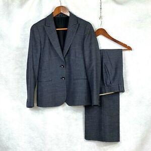 Theory Black Label womens black gray nailshead wool blend pant suit sz 10