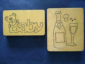 2 WOODEN Dies BABY with BEAR & CELEBRATION Bottle & Glass. for BIG SHOT etc
