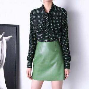 Women Skirt Fashion Crocodile Pattern Real Sheepskin Leather Mini Skirts3TF8510