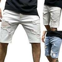 Mens Fashion Denim Shorts Jeans Frayed Skinny Casual Summer Ripped Short Pants