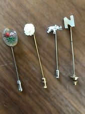 Vintage Hat Lapel Pins Lot Of 4 Rose Elephant Flower Letter N