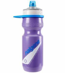 Nalgene Draft Squeezable Bicycle Water Bottle Purple w/Gray Cap - Fits Bike Cage