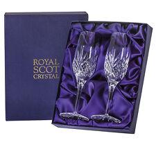 2 Royal Scot Champagne Glasses - Highland Flutes - PRESENTATION BOXED