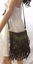NWT Deux Lux Brown Leather Fringed Shoulder Bag, Purse, Bag