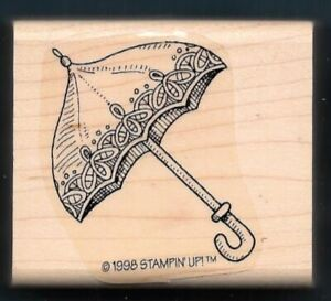 FLORAL SPRING UMBRELLA Rain Shower STAMPIN' UP! 1998 wood mount RUBBER STAMP