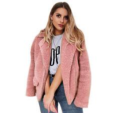 Womens Winter Warm Fluffy Fleece Jacket Coat Cardigans Oblique Zip Pocket Jumper