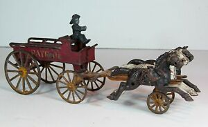 ca1890s CAST IRON HORSE DRAWN FIRE PATROL WAGON By KENTON LARGE SIZE 14 INCH