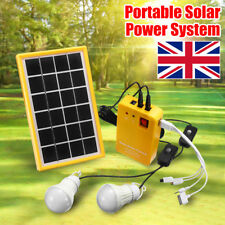 Solar Panel Power System Kit Charging Generator LED 3 Light Bulb Outdoor Camping