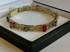 """DIAMOND & SYNTHETIC RED RUBY 18ct 750 yellow GOLD BRACELET 7.5"""" 7mm 4 bar links"""