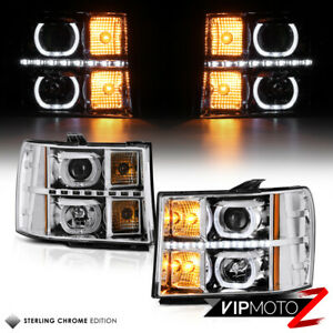[STERLING CHROME EDITION] 2007-2013 GMC Sierra Projector Halo SMD Headlights SET