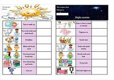 Morning & Evening routine charts for male or female use. Autism ~ Special needs