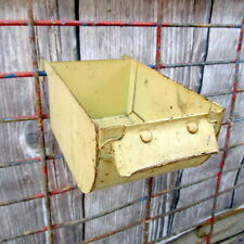 Vintage Metal Bin Rustic Yellow Industrial Factory Parts Hanging Storage Decor