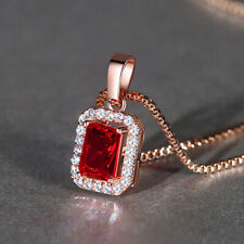 Women Rose Gold Filled Red Crystal Rhinestone Rectangular Pendant With Necklace