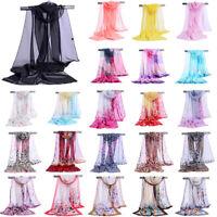 Fashion Women Summer Pure Color Long Soft Wrap Lady Shawl Chiffon Scarf Scarves