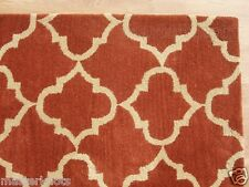 Scroll Tile Terra Cotta 8' x 10' Handmade Tufted 100% Wool Soft Area Rug Carpet