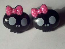 Cute Hello Kitty Goth Skull Resin SURGICAL STEEL Posts Earrings BN