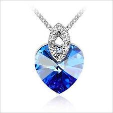 925 Sterling Silber PL. Doppel Herz Anhänger + Halskette Kette Strass Blau Neu