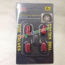 (rojo)4PCS de aluminio Llantas Ruedas llantas Stem Tapas de válvula de aire